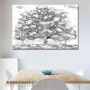 renata bulkszas obraz na płótnie drzewo magnolii czarno białe 120x80, magnolie
