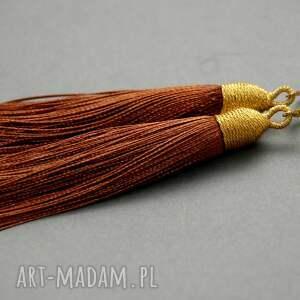 kolczyki z chwostami, sznurek, eleganckie, wiszące, wieczorowe, długie,