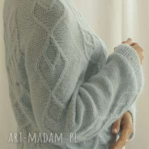 błękitno-miętowy sweter, alpaka, dziergany, wełniany, błękitny, miętowy