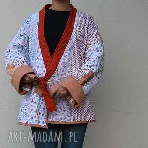 płaszcz patchworkowy - waciak, folk, boho, płaszcz, patchwork, bawełna