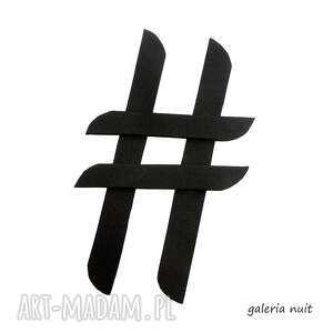 hasztag # broszka czarna ii, lekka, modna, trendy, uniwersalna, młodzieżowa broszki