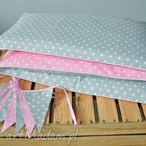Ochraniacz do łóżeczka różowo-szary, ocgraniacz, łóżeczko, pościel, róż