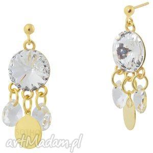 orientalne kolczyki crystal swarovski elements, złote, orientalne, barokowe