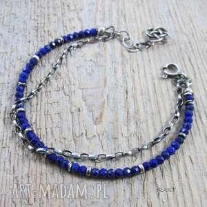 Lapis lazuli z łańcuszkiem, lapis, srebro, bransoletka