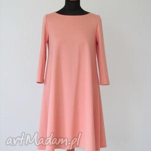 7 - sukienka łososiowa, sukienka, sukienki, dzianina, rozkloszowana, trapez