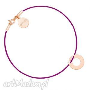 fioletowa sznurkowa bransoletka z karmą różowego złota, bransoletka, różowe