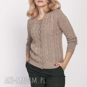 kardigan z wzorami, swe190 mocca mkm, sweter, kardigan, jesień, mocca, guziki