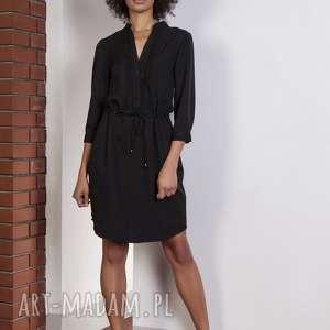 sukienki sukienka ze szczypankami, suk149 czarny, casual, sukienka, szczypanki