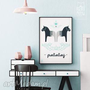 prezent Plakat Patataj , koniki, plakaty, prezent, święta, ilustracje, dekoracje