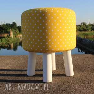 Pufa Żółte Grochy - Białe nogi 36 cm , puf, taboret, hocker, vintage, stołek,