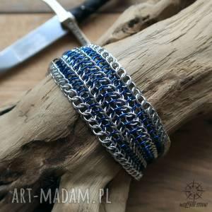 kolczugowa rycerska bransoleta - srebrno-niebieska, kolczuga, rycerz, męska