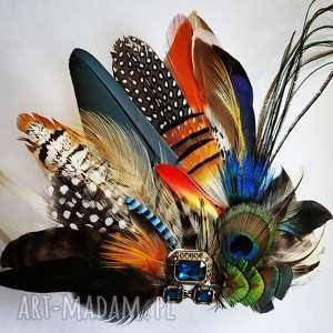 fascynator z piór - rajski ptak, pióra, sesja, hippie, pawie, boho, ślub
