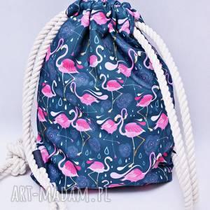ręcznie zrobione workoplecak wodoodporny, worek plecak, torba na plecy, ze sznurami