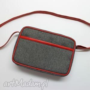 ręcznie zrobione pomysł na świąteczne prezenty mała torba miejska - tkanina szara