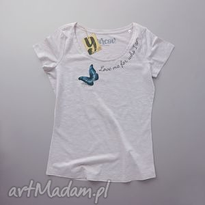 LOVE ME koszulka z napisem, motyl, owady, oversize, dekolt