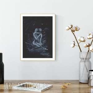 grafika 30x40 cm wykonana ręcznie, abstrakcja, elegancki minimalizm, minimalizm