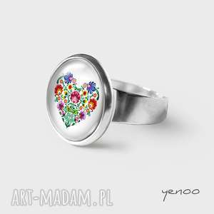 pierścionek - folkowe serce, pierścionek, grafika, regulowany, folkowe, serce