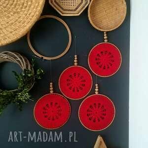 handmade dekoracje 4 x łapacz czerwony