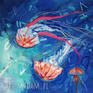obraz olejny meduzy niebieskie iii, ramka, dom, olejny, dekoracja, wnętrza