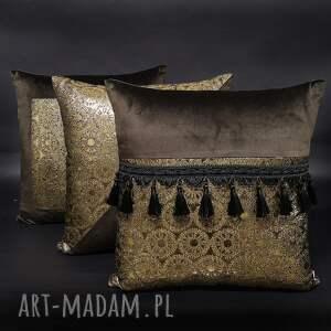 poduszki dekoracyjne brąz komplet 3 secessio 45x45cm, złote
