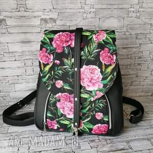 plecak z klapką, worek plecakoworek, prezent kwiaty ekoskóra, do pracy