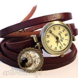 dmuchawiec - zegarek / bransoletka na skórzanym pasku, dmuchawiec, zegarek, skóry