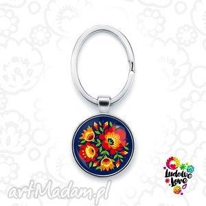 brelok do kluczy kwiaty, polskie, wzory, ludowe, łowickie, wycinanki, prezent