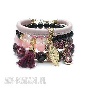 Antique pink ra, rzemień, kryształki, chwost