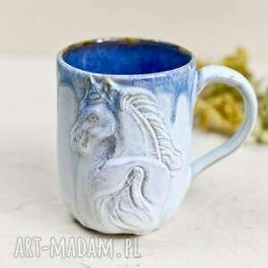 handmade ceramiczny kubek z koniem - szron niebieski 400 ml, ceramika
