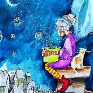 Akwarela Robimy śnieg artystki plastyka Adriany Laube, zima, śnieg, elf, kot