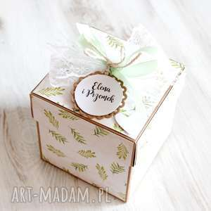 pudełko z niespodzianką - kartka na ślub - zielone, prezent