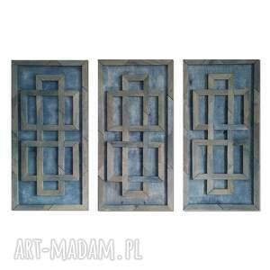 obraz z drewna, dekoracja ścienna tryptyk /1/, dekoracja, drewniana