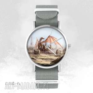 ręczne wykonanie zegarki zegarek, bransoletka - smok szary, nato