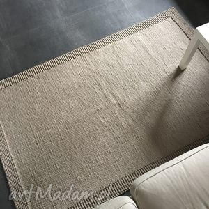 ręcznie robione dywany dywan ze sznurka bawełnianego beżowy 125x200 cm