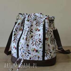 plecak worek torba - łapacze snów na białym tle, worek, plecak, sakiewka