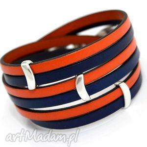 bransoletka skóra joyee duallo peach navy blue, skórra, oplataniec, potrójny