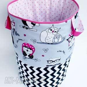 dla dziecka kosz pojemnik worek organizer na zabawki klocki pościel w wesołe sówki