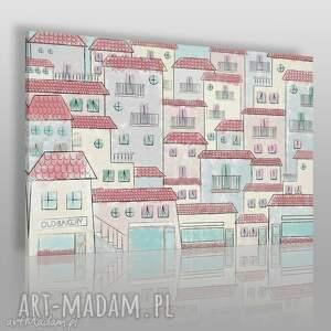 obraz na płótnie - malownicze miasteczko 120x80 cm 57801, domki, komiks, domy