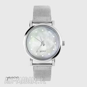zegarek, bransoletka - szary mały, bransoletka, metalowa, elegancki, modny