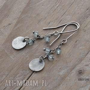 grey line project małe szlachetne - akwamaryn, srebro, surowe, wiszące