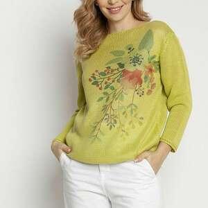 sweter z nadrukiem - swe235 zielony mkm, nadrukiem, w kwiaty