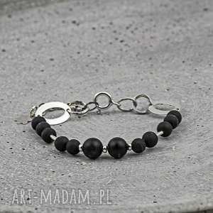 Agat czarny zgustem agat, kamienie, srebro, 925