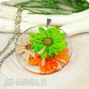 herbarium jewelry naszyjnik z suszonymi kwiatami, medalion kwiatem, kwiaty