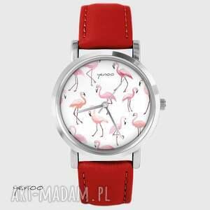 Prezent Zegarek - Flamingi czerwony, skórzany, zegarek, bransoletka, skórzany