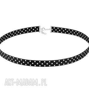 handmade naszyjniki czarny choker w kropeczki