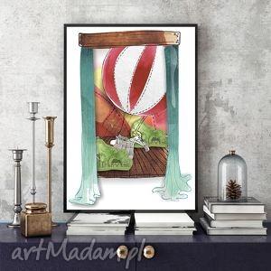 grafika lot balonem ilustracja, dziecko, chłopiec, balon, a4, obrazek