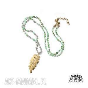 naszyjniki zielony naszyjnik z zawieszką floral, naszyjnik, wisiorek, lisc
