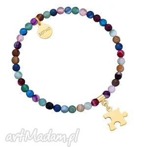 kolorowa bransoletka z fasetowanego agatu ze złotym puzzlem, agat, modna