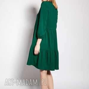 sukienka z falbankami, suk179 zielony, zwiewna, luźna, krótka, mini, do klapek