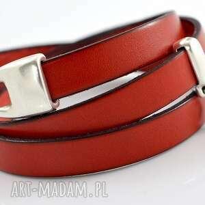 bransoletka z rzemieni JOYEE TRIPLE BIRDY RED, bransoletka, skóra, potrójna